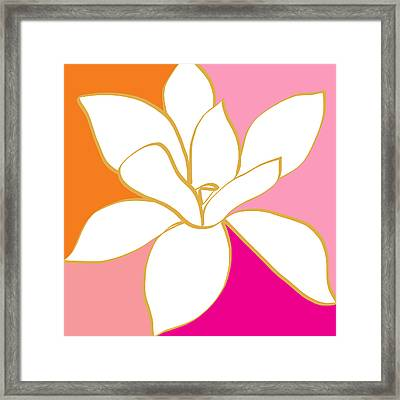 Magnolia 4- Colorful Flower Art Framed Print by Linda Woods