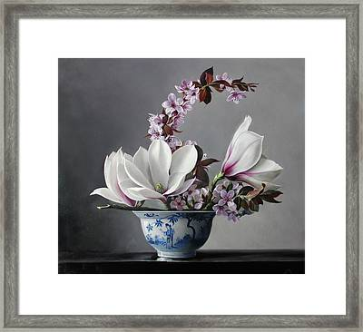 Magnolia And Apple Blossem Framed Print