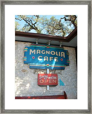 Magnolia Cafe Sign In Austin Framed Print by Connie Fox