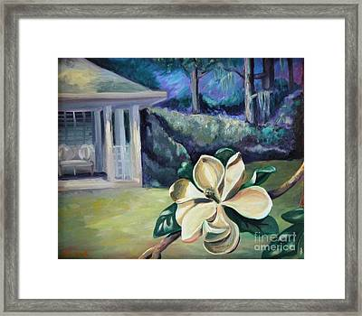 Magnolia In Moonlight Framed Print by Ellen Howell
