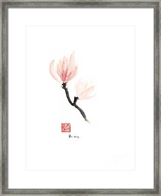 Magnolia Pink Flower Flowers Delicate Watercolor Painting Framed Print