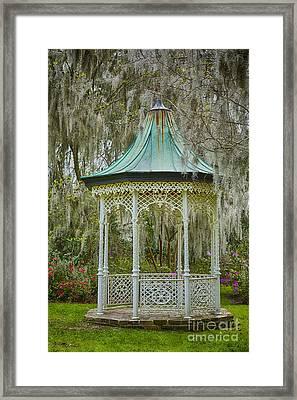Magnolia Plantation Gazebo Framed Print by Carrie Cranwill