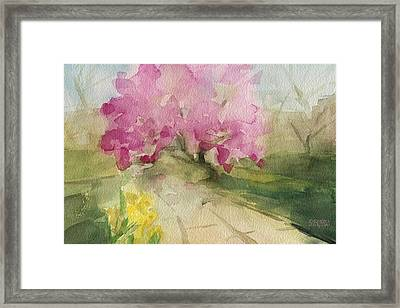 Magnolia Tree Central Park Watercolor Landscape Painting Framed Print by Beverly Brown