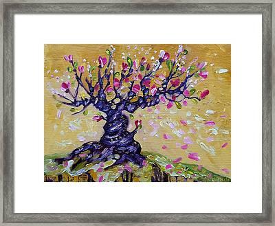 Magnolia Tree Flower Painting Oil On Canvas By Ekaterina Chernova Framed Print
