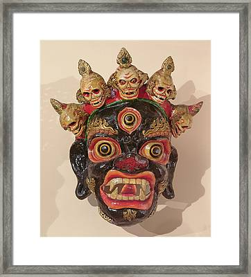 Mahakala Dance Mask Painted Wood Framed Print by Tibetan School