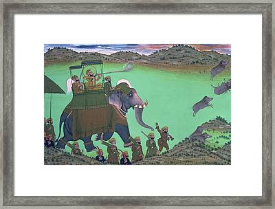 Maharana Sarup Singh Of Udaipur Shooting Boar From Elephant-back, Rajasthan, 1855  Framed Print by Indian School