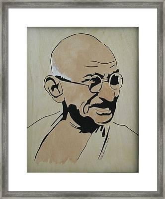 Mahatma Gandhi Framed Print by H Leslie Simmons