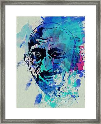 Mahatma Gandhi Watercolor Framed Print by Naxart Studio