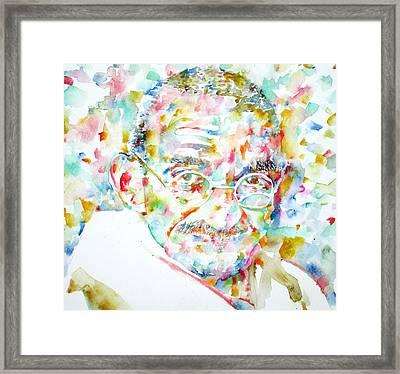 Mahatma Gandhi Watercolor Portrait.1 Framed Print by Fabrizio Cassetta