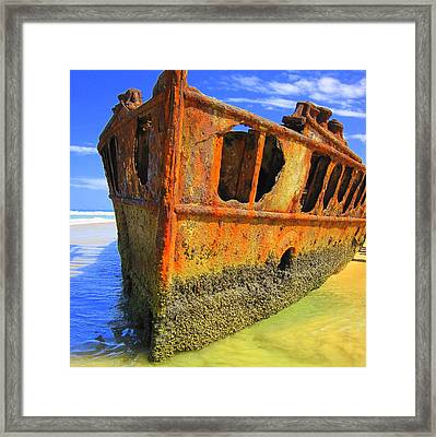 Framed Print featuring the photograph Maheno Shipwreck by Ramona Johnston