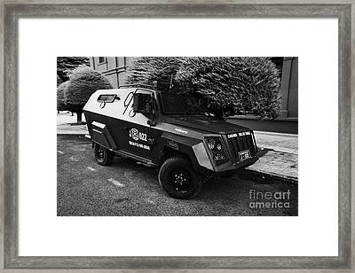 mahindra marksman armoured bulletproof vehicle owned by the carabineros de chile Punta Arenas Chile Framed Print by Joe Fox