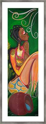 Maiden At The Stream Framed Print by Chibuzor Ejims