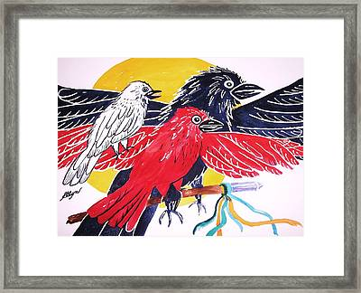 Raven As Maiden Mother And Crone Framed Print by Ellen Levinson