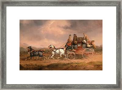 Mail Coaches On The Road The Louth-london Royal Mail Framed Print by Litz Collection