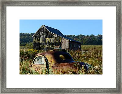 Mail Pouch Barn And Old Cars Framed Print by Paul Ward