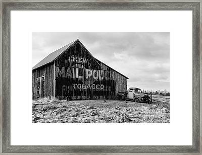 Mail Pouch Tobacco Barn In Black And White Framed Print by Paul Ward
