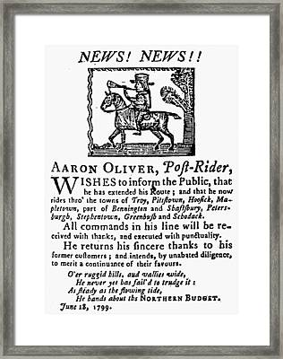 Mail Service, 1799 Framed Print by Granger