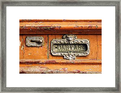 Mail Slot Framed Print by Carlos Caetano