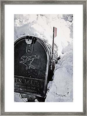Mailbox Buried In Snow Framed Print by Birgit Tyrrell