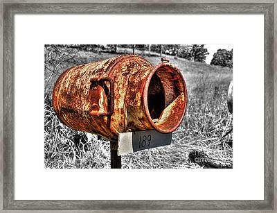 Mailbox With Character Framed Print by Kaye Menner