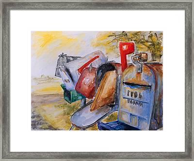 Mailboxes In Texas Framed Print by Barbara Pommerenke