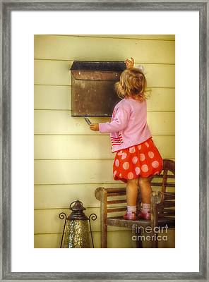 Mailing A Letter Framed Print by Valerie Reeves