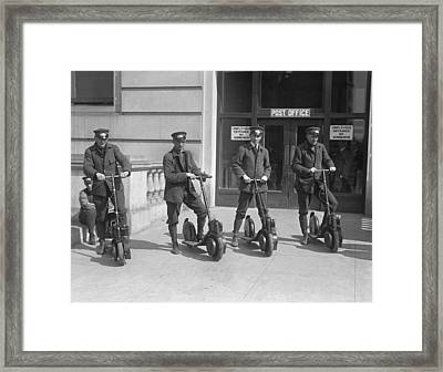 Mailmen On Scooters Framed Print by Underwood Archives