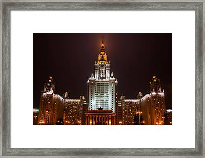 Main Building Of Moscow State University At Winter Evening - 2 Featured 3 Framed Print by Alexander Senin