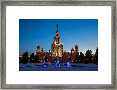 Main Building Of Moscow State University At Winter Evening - 3 Featured 2 Framed Print by Alexander Senin
