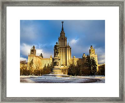 Main Building Of Moscow State University On Sparrow Hills - 2 - Featured 3 Framed Print by Alexander Senin