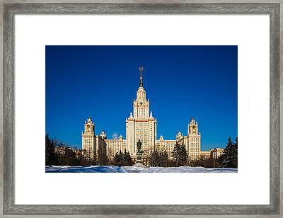 Main Building Of Moscow State University On Sparrow Hills Framed Print by Alexander Senin