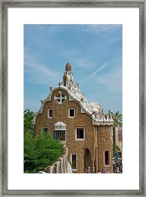 Main Gatehouse To Gaudi Park Framed Print by Jan and Stoney Edwards