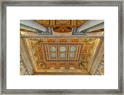 Main Hall Ceiling Library Of Congress Framed Print by Susan Candelario