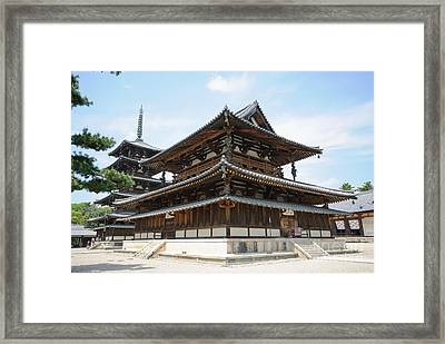 Main Hall Of Horyu-ji - World's Oldest Wooden Building Framed Print