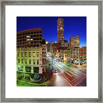 Main Street At Twilight - Downtown Houston Skyline Texas Framed Print