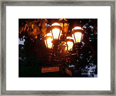 Main Street Gaslights - Abstract Framed Print