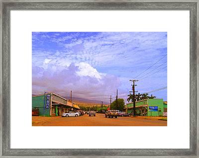 Main Street Kaunakakai Framed Print by James Temple