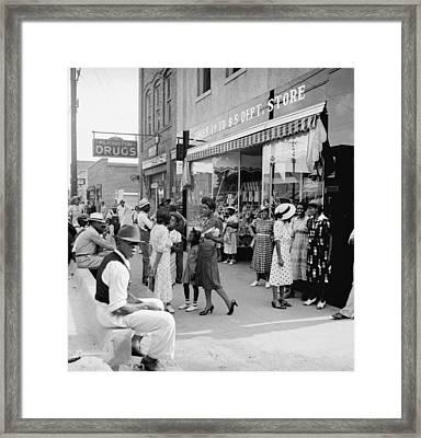 Main Street Shoppers, 1939 Framed Print