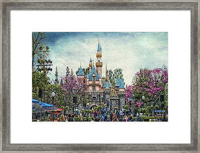 Main Street Sleeping Beauty Castle Disneyland Textured Sky Framed Print by Thomas Woolworth