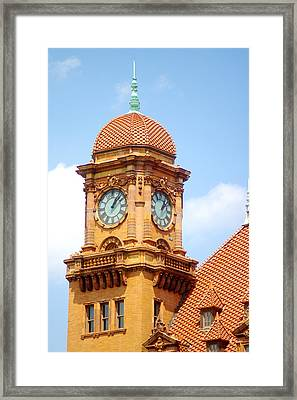 Main Street Station Clock Tower Richmond Va Framed Print by Suzanne Powers