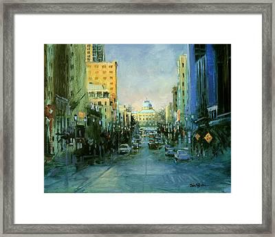 Main Street Twilight Framed Print