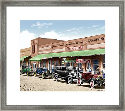 Old Main Street Grapevine Texas Framed Print by Walt Curlee