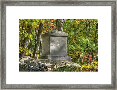 Maine At Gettysburg - 20th Maine Volunteer Infantry-b Little Round Top Extreme Left Of The Line Framed Print by Michael Mazaika