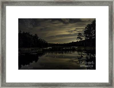 Maine Beaver Pond At Night Framed Print