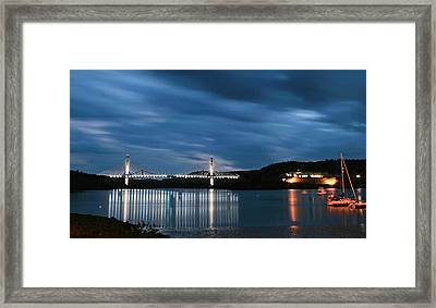 Maine Bridge And Fort Knox  Framed Print