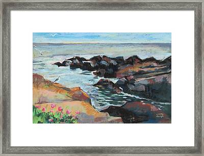 Framed Print featuring the painting Maine Coast Rocks And Birds by Linda Novick