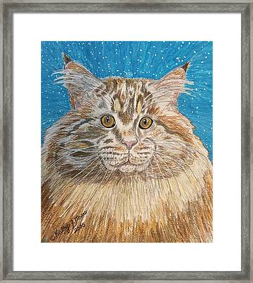 Framed Print featuring the painting Maine Coon Cat by Kathy Marrs Chandler