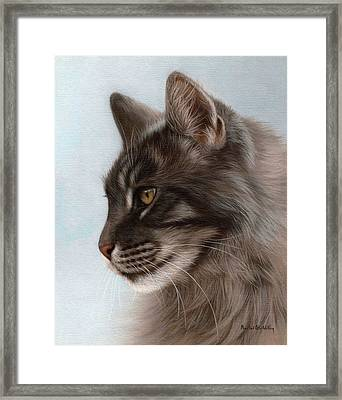 Maine Coon Painting Framed Print
