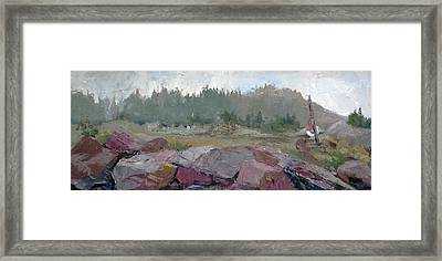 Maine Cove In Fog Framed Print by J R Baldini