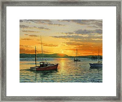 Maine Harbor Sunset Framed Print by Paul Krapf